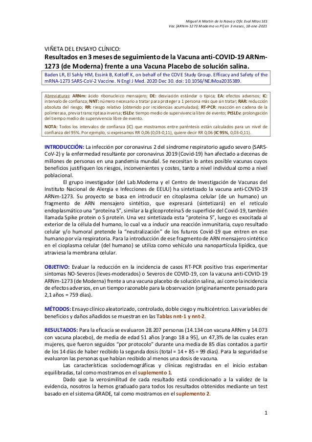 Miguel A Martín de la Nava y Ofic Eval Mtos SES Vac [ARNm-1273 Moderna vs Pl] en 3 meses, 18-ene-2021 1 VIÑETA DEL ENSAYO ...