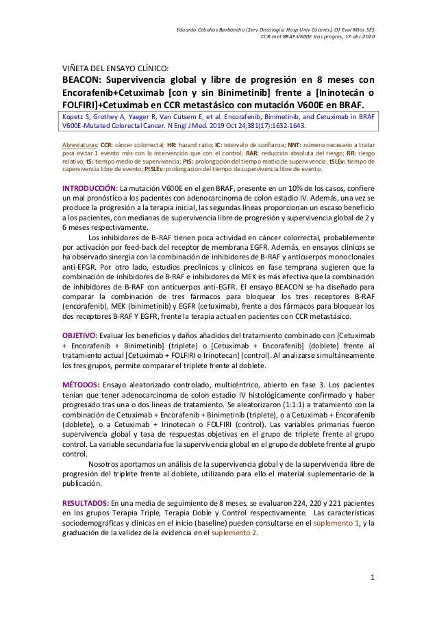 Eduardo Ceballos Barbancho (Serv Oncología, Hosp Univ Cáceres), Of Eval Mtos SES CCR-met BRAF-V600E tras progres, 17-abr-2...
