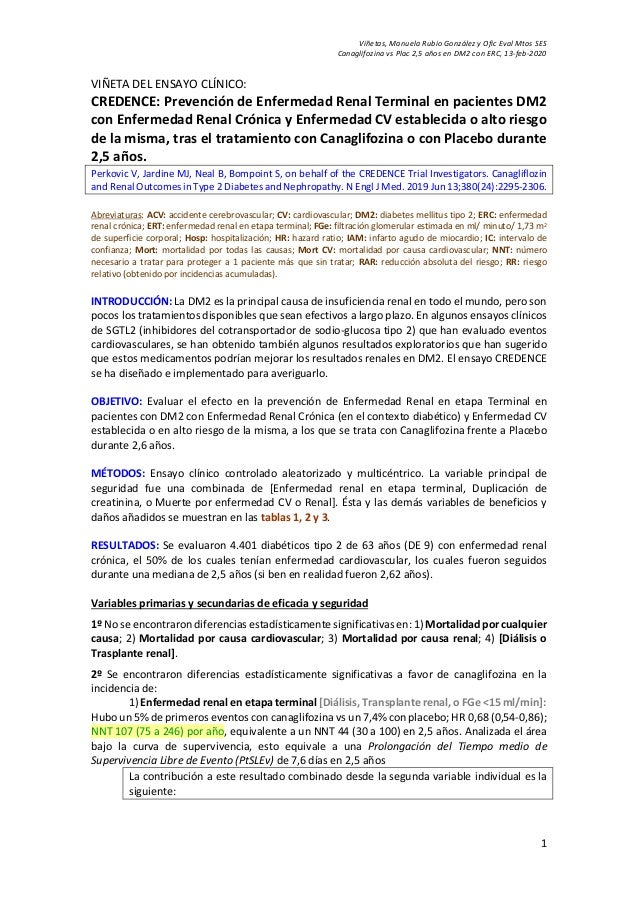 Vi�etas, Manuela Rubio Gonz�lez y Ofic Eval Mtos SES Canaglifozina vs Plac 2,5 a�os en DM2 con ERC, 13-feb-2020 1 VI�ETA D...