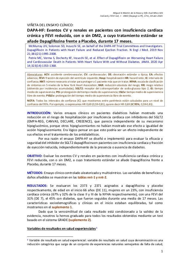 Miguel A Martín de la Nava y Ofic Eval Mtos SES InsCard y FEVI red, + - DM2 [Dapagl vs Pl], 17m, 18-abr-2021 1 VIÑETA DEL ...