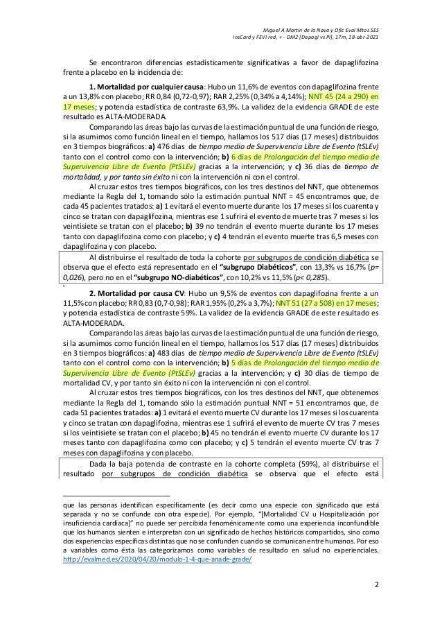 Miguel A Martín de la Nava y Ofic Eval Mtos SES InsCard y FEVI red, + - DM2 [Dapagl vs Pl], 17m, 18-abr-2021 2 Se encontra...