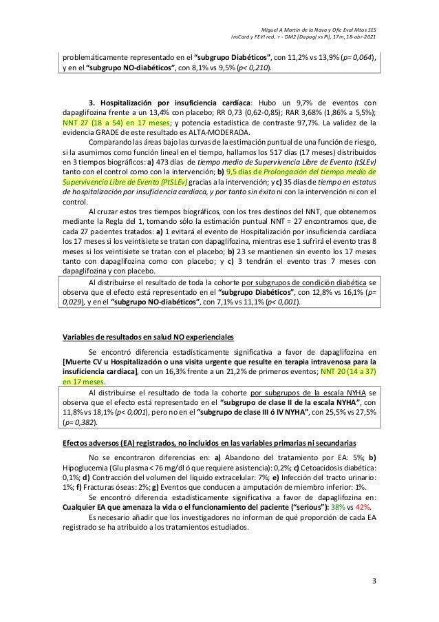 Miguel A Martín de la Nava y Ofic Eval Mtos SES InsCard y FEVI red, + - DM2 [Dapagl vs Pl], 17m, 18-abr-2021 3 problemátic...