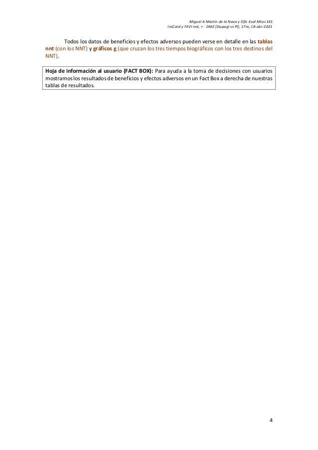Miguel A Martín de la Nava y Ofic Eval Mtos SES InsCard y FEVI red, + - DM2 [Dapagl vs Pl], 17m, 18-abr-2021 4 Todos los d...