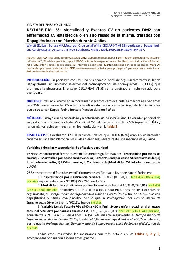 Viñetas, Juan José Torres y Ofic Eval Mtos SES Dapaglifozina vs plac 4 años en DM2, 20-oct-2019 1 VIÑETA DEL ENSAYO CLÍNIC...