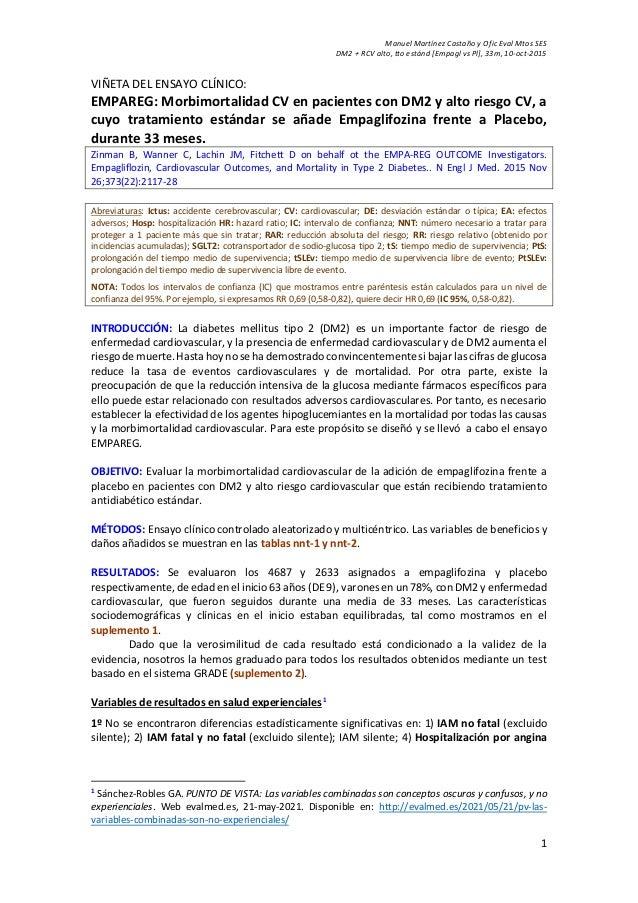 Manuel Martínez Castaño y Ofic Eval Mtos SES DM2 + RCV alto, tto estánd [Empagl vs Pl], 33m, 10-oct-2015 1 VIÑETA DEL ENSA...