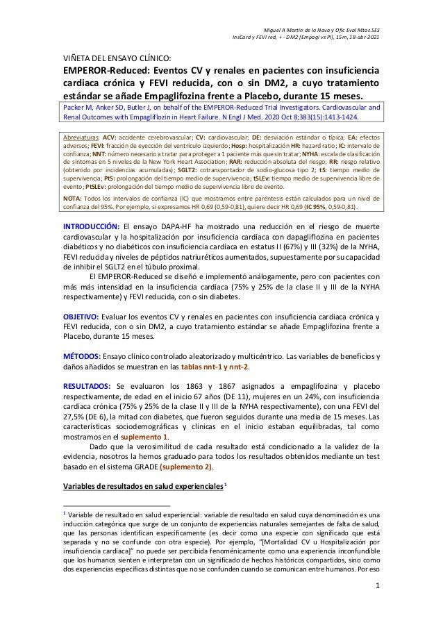 Miguel A Martín de la Nava y Ofic Eval Mtos SES InsCard y FEVI red, + - DM2 [Empagl vs Pl], 15m, 18-abr-2021 1 VIÑETA DEL ...