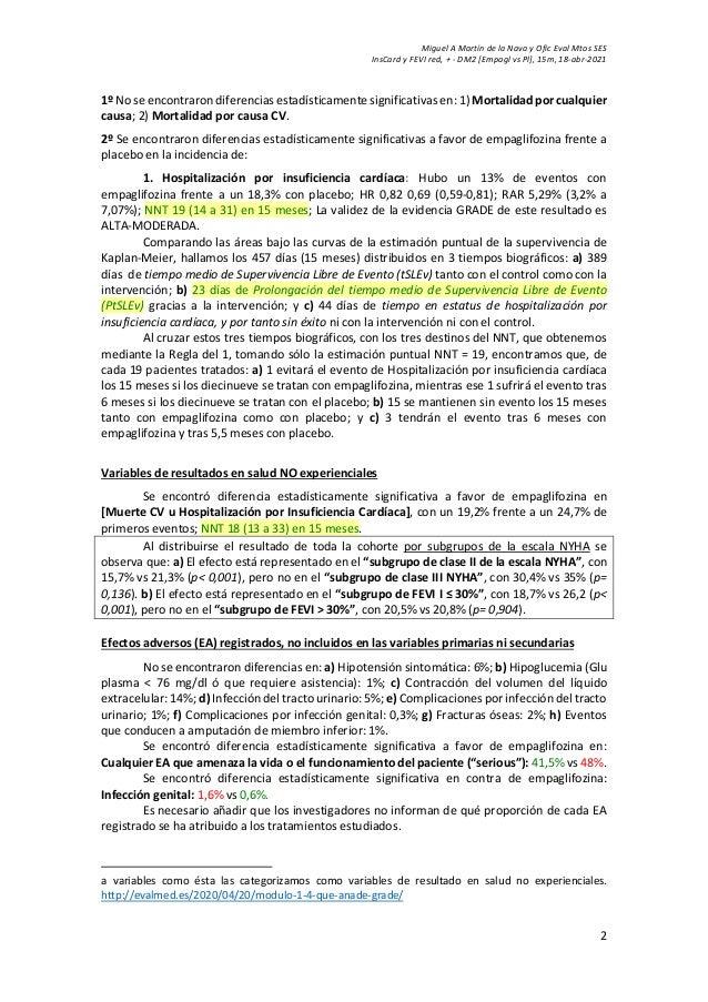 Miguel A Martín de la Nava y Ofic Eval Mtos SES InsCard y FEVI red, + - DM2 [Empagl vs Pl], 15m, 18-abr-2021 2 1º No se en...