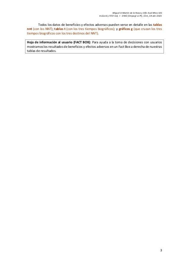 Miguel A Martín de la Nava y Ofic Eval Mtos SES InsCard y FEVI red, + - DM2 [Empagl vs Pl], 15m, 18-abr-2021 3 Todos los d...