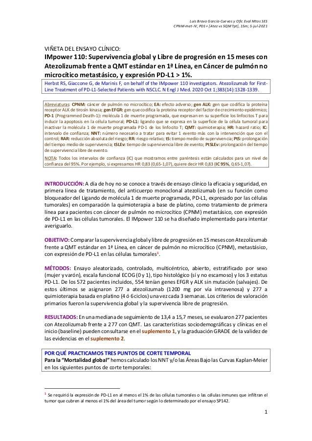 Luis Bravo García-Cuevas y Ofic Eval Mtos SES CPNM-met-IV, PD1+ [Atez vs 5QMTpt], 15m; 5-jul-2021 1 VIÑETA DEL ENSAYO CLÍN...