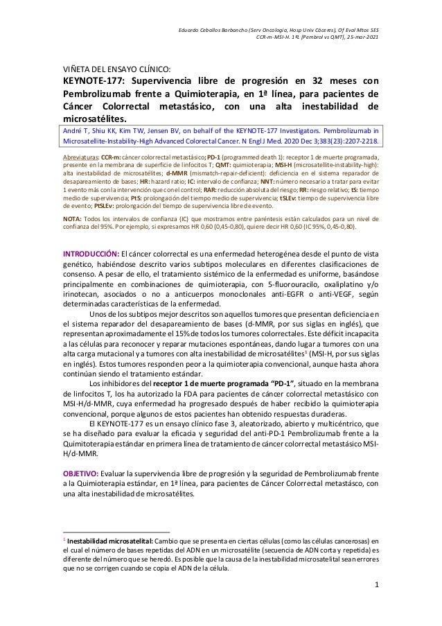 Eduardo Ceballos Barbancho (Serv Oncología, Hosp Univ Cáceres), Of Eval Mtos SES CCR-m-MSI-H. 1ªL [Pembrol vs QMT], 25-mar...