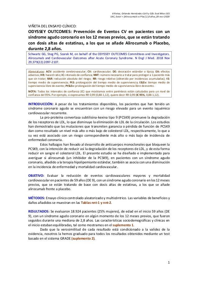 Viñetas, Orlando Hernández Celli y Ofic Eval Mtos SES SAC, Estat + [Alirocumab vs Plac] 2,8 años,20-nov-2020 1 VIÑETA DEL ...