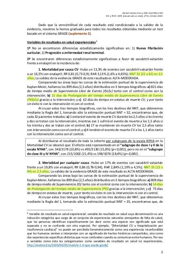 Daniel Lázaro Cruz y Ofic Eval Mtos SES ICC y FEVI <35% [sacub-vals vs enal], 27m, 10-abr-2021 2 Dado que la verosimilitud...