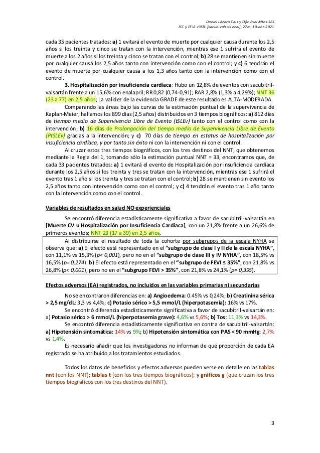 Daniel Lázaro Cruz y Ofic Eval Mtos SES ICC y FEVI <35% [sacub-vals vs enal], 27m, 10-abr-2021 3 cada 35 pacientes tratado...