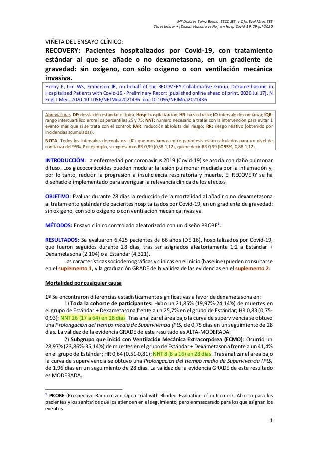 M� Dolores Sainz Bueno, SSCC SES, y Ofic Eval Mtos SES Tto est�ndar + [Dexametasona vs No], en Hosp Covid-19, 29-jul-2020 ...