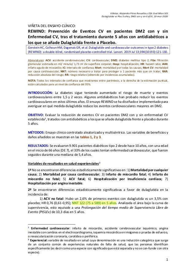 Viñetas, Alejandro Pérez Revuelta y Ofic Eval Mtos SES Dulaglutida vs Plac 5 años, DM2 con y sin EnfCV, 10-mar-2020 1 VIÑE...