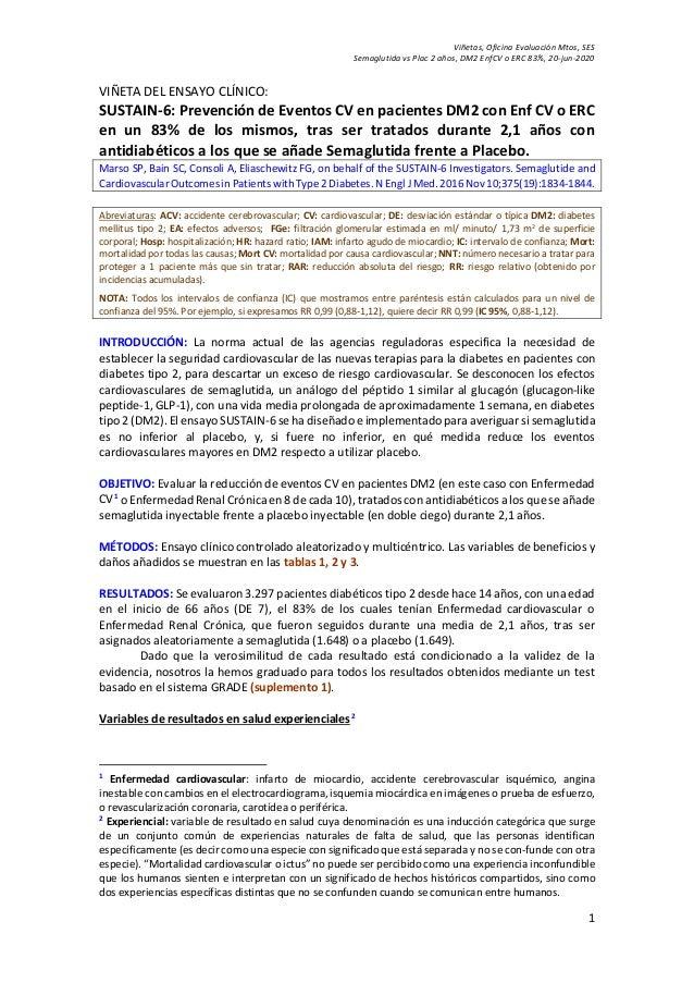 Viñetas, Oficina Evaluación Mtos, SES Semaglutida vs Plac 2 años, DM2 EnfCV o ERC 83%, 20-jun-2020 1 VIÑETA DEL ENSAYO CLÍ...