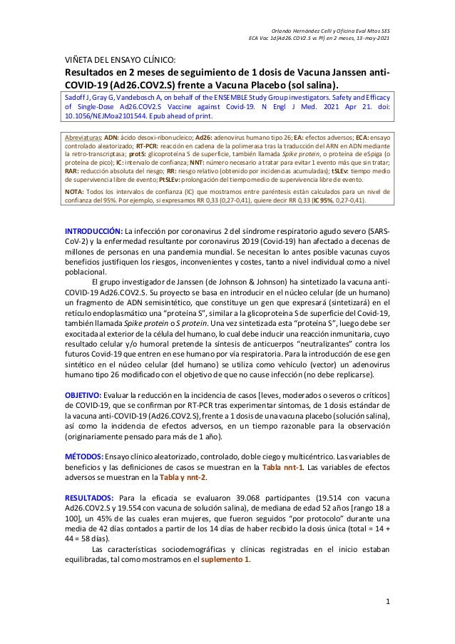 Orlando Hernández Celli y Oficina Eval Mtos SES ECA Vac 1d[Ad26.COV2.S vs Pl] en 2 meses, 13-may-2021 1 VIÑETA DEL ENSAYO ...