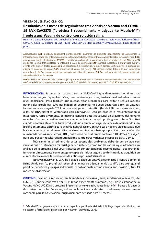 Oficina Eval Mtos SES ECA 2dosis Vac[NVX-CoV2373 vs Pl] en 3 meses, 12-jul-2021 1 VIÑETA DEL ENSAYO CLÍNICO: Resultados en...