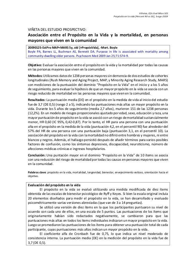 Viñetas, Ofic Eval Mtos SES Propósito en la vida [Percent 90 vs 10], 3-ago-2019 VIÑETA DEL ESTUDIO PROSPECTIVO: Asociación...