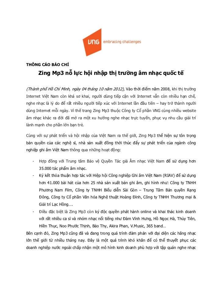 THÔNG CÁO BÁO CHÍ(Thành phố Hồ Chí Minh, ngày 04 tháng 10 năm 2012), V o t                                                ...