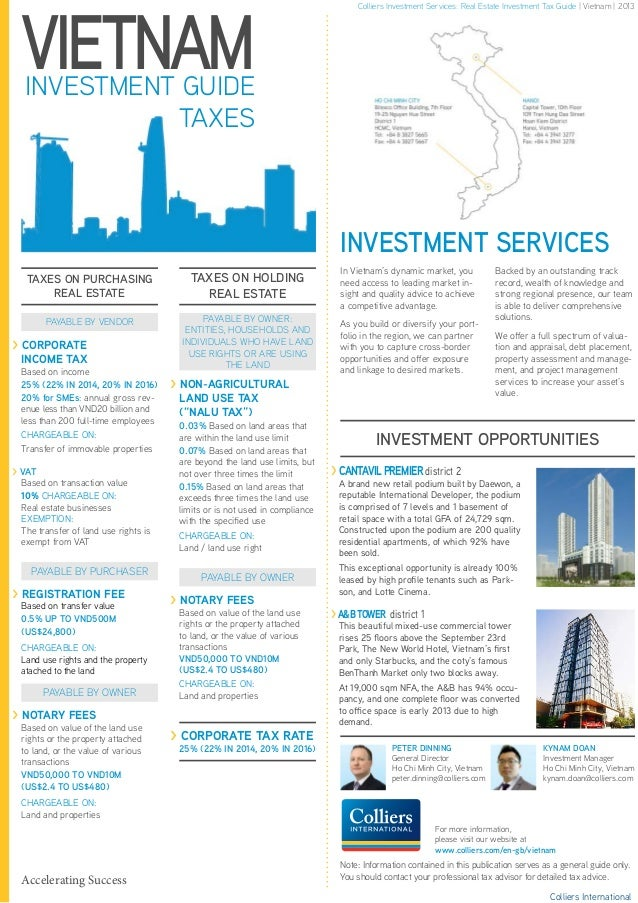 VIETNAMINVESTMENT GUIDE TAXES TAXES ON PURCHASING REAL ESTATE TAXES ON HOLDING REAL ESTATE PAYABLE BY VENDOR PAYABLE BY OW...