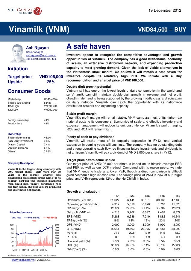 www.vcsc.com.vn   VCSC<GO> Viet Capital Securities   1 See important disclosure at the end of this document Vinamilk (VNM)...
