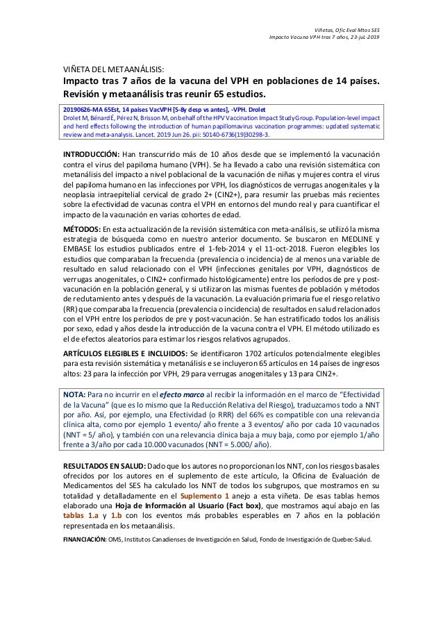Viñetas, Ofic Eval Mtos SES Impacto Vacuna VPH tras 7 años, 23-juL-2019 VIÑETA DEL METAANÁLISIS: Impacto tras 7 años de la...
