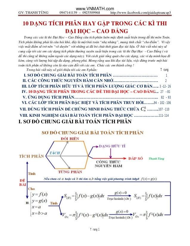 GV: THANH TÙNG 0947141139 – 0925509968 http://www.facebook.com/giaidaptoancap3 Trang 1 10 DẠNG TÍCH PHÂN HAY GẶP TRONG CÁC...