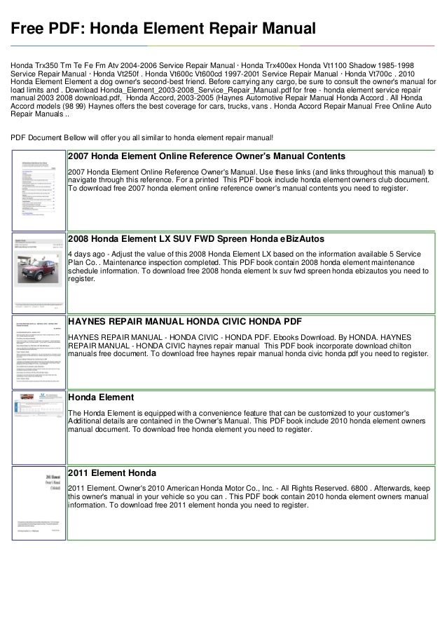 2008 honda element service manual pdf