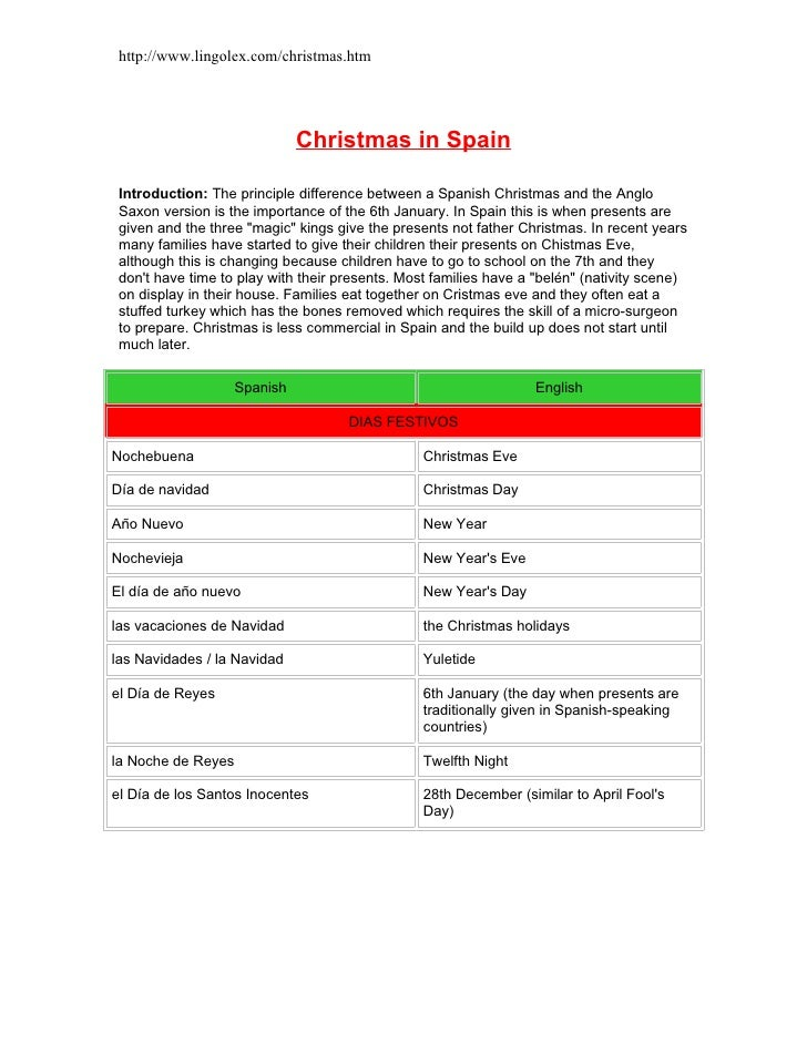 http://www.lingolex.com/christmas.htm                                   Christmas in Spain   Introduction: The principle d...