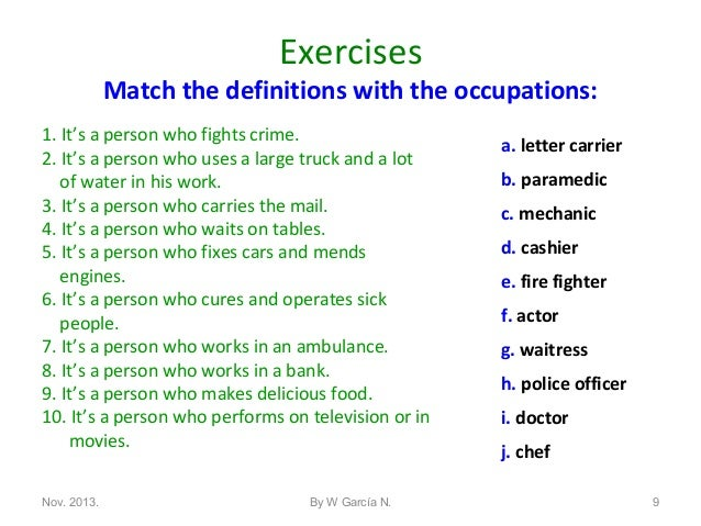 Vocab Occupations