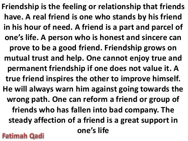 paragraph on friendship in english
