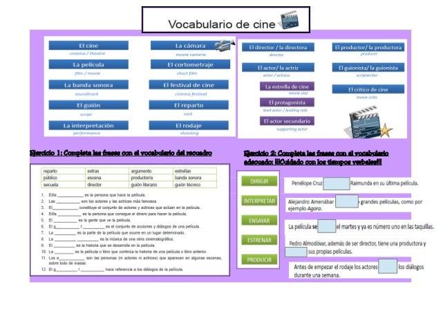 Ejercicio 1: Completa las frases con el vocabulario del recuadro Ejercicio 2: Completa las frases con el vocabulario adecu...