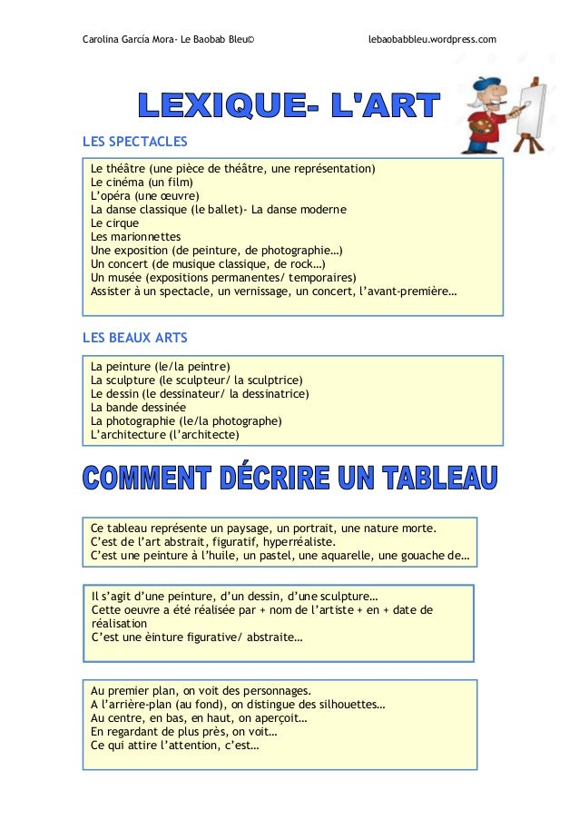 vocabulaire art  comment d u00e9crire un tableau