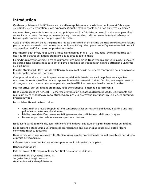 Vocabulaire des relations publiques i - Difference entre sommaire et table des matieres ...