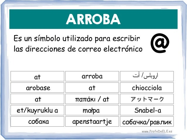 ARROBA Es un símbolo utilizado para escribir las direcciones de correo electrónico at at chiocciola arroba arobase παπάκι ...