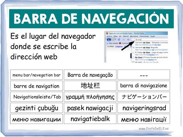 BARRA DE NAVEGACIÓN Es el lugar del navegador donde se escribe la dirección web menu bar/navegation bar 地址栏 barra di navig...