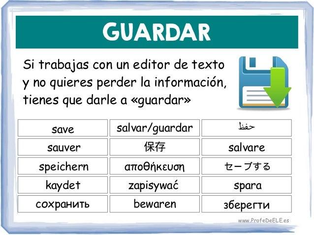 GUARDAR Si trabajas con un editor de texto y no quieres perder la información, tienes que darle a «guardar» save 保存 salvar...