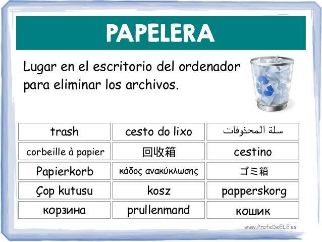 PAPELERA Lugar en el escritorio del ordenador para eliminar los archivos. trash 回收箱 cestino cesto do lixo corbeille à papi...