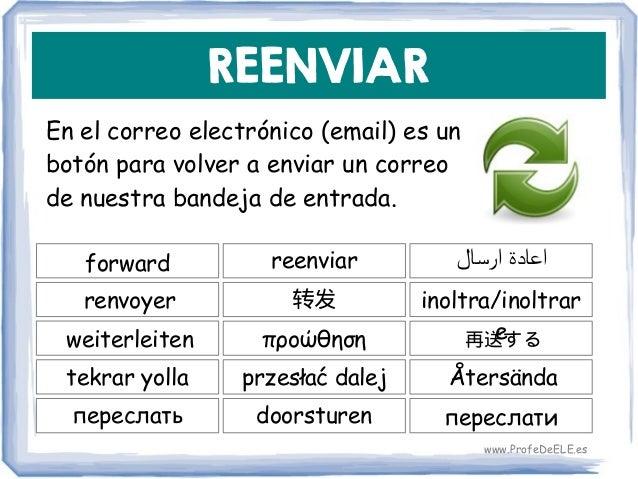 REENVIAR En el correo electrónico (email) es un botón para volver a enviar un correo de nuestra bandeja de entrada. forwar...