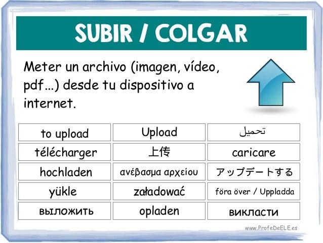 SUBIR / COLGAR Meter un archivo (imagen, vídeo, pdf...) desde tu dispositivo a internet. to upload 上传 caricare Upload télé...