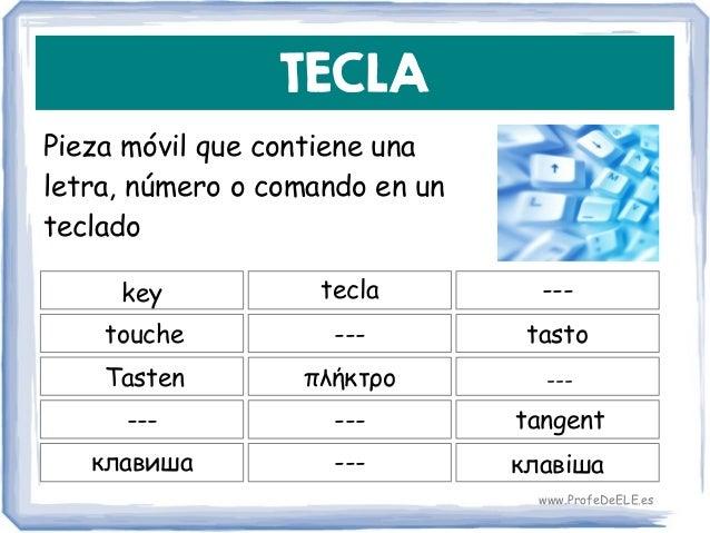 TECLA Pieza móvil que contiene una letra, número o comando en un teclado key --- tasto tecla touche πλήκτροTasten ------ -...