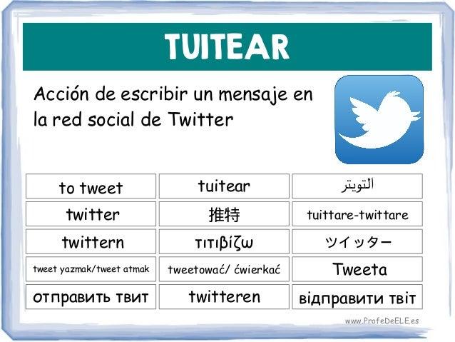 TUITEAR Acción de escribir un mensaje en la red social de Twitter to tweet 推特 tuittare-twittare tuitear twitter τιτιβίζωtw...