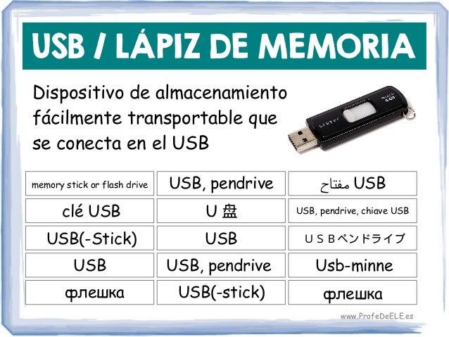 USB / LÁPIZ DE MEMORIA Dispositivo de almacenamiento fácilmente transportable que se conecta en el USB memory stick or fla...