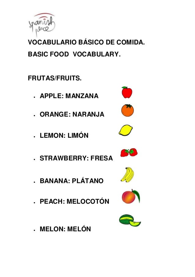 VOCABULARIO BÁSICO DE COMIDA. BASIC FOOD VOCABULARY. FRUTAS/FRUITS.  APPLE: MANZANA  ORANGE: NARANJA  LEMON: LIMÓN  ST...