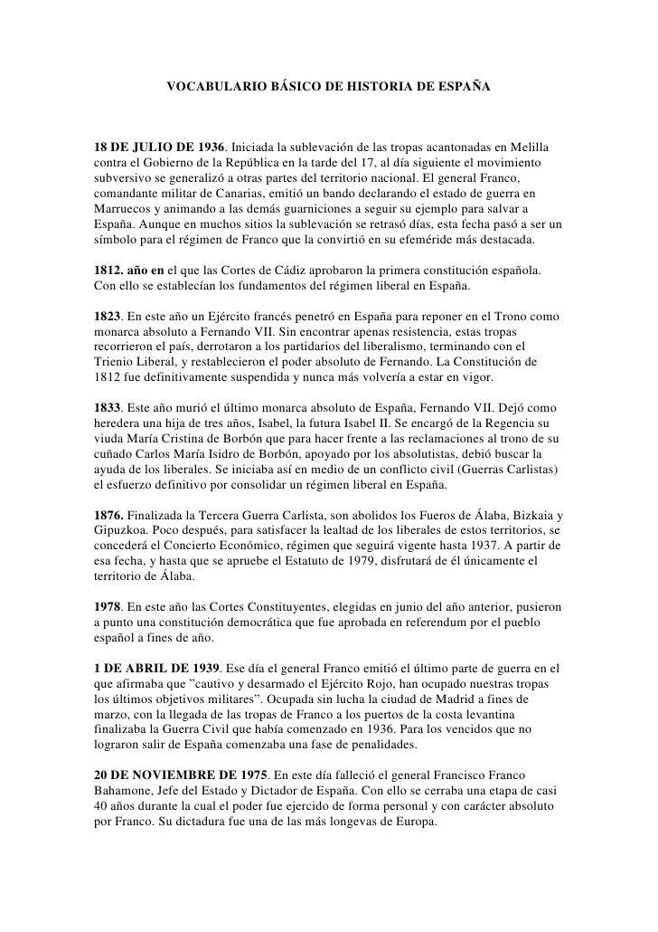 VOCABULARIO BÁSICO DE HISTORIA DE ESPAÑA    18 DE JULIO DE 1936. Iniciada la sublevación de las tropas acantonadas en Meli...