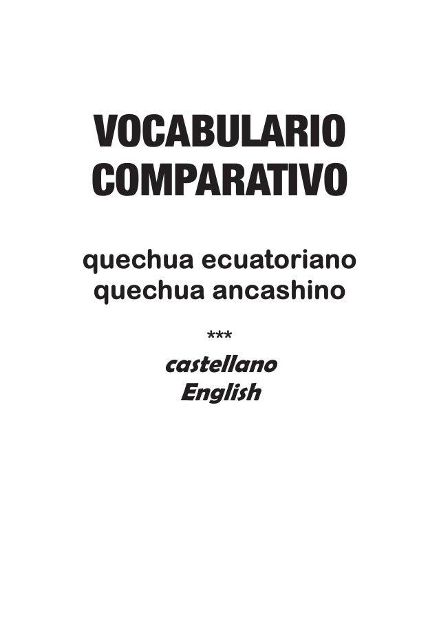 VOCABULARIO COMPARATIVO