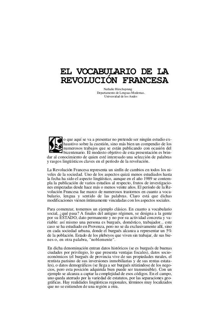 EL VOCABULARIO DE LA        REVOLUCIÓN FRANCESA                                 Nathalie Hirschsprung                     ...