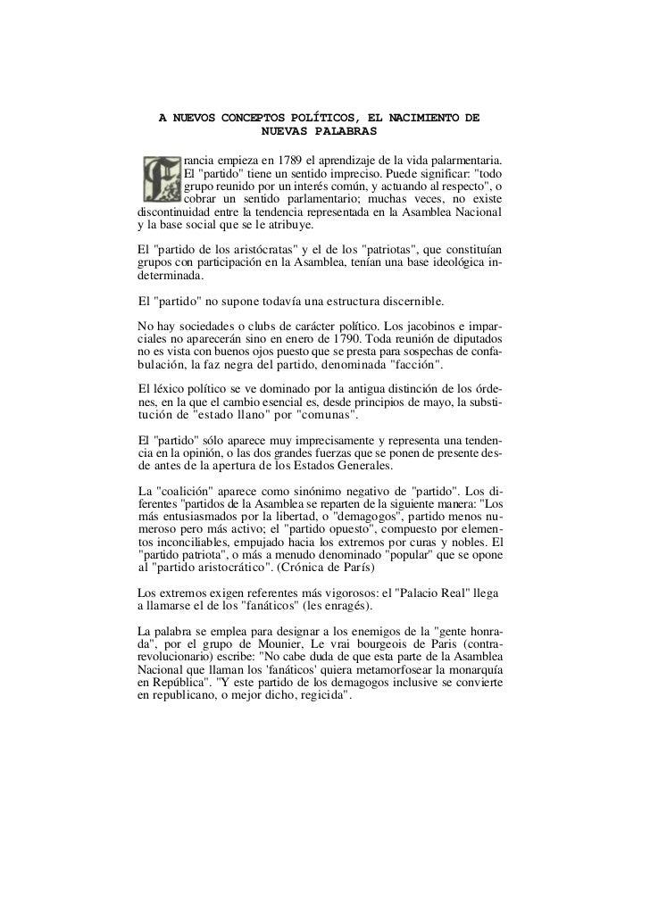 A NUEVOS CONCEPTOS POLÍTICOS, EL NACIMIENTO DE                   NUEVAS PALABRAS         rancia empieza en 1789 el aprendi...