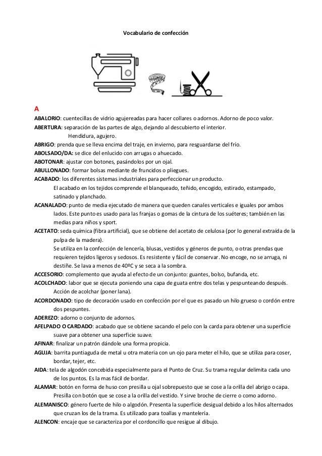 4856cab09 Vocabulario de patronaje y confección